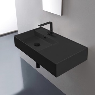 Matte Black Ceramic Wall Mounted or Vessel Sink With Counter Space Scarabeo 5115-49