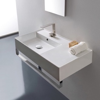 Rectangular Ceramic Wall Mounted Sink With Counter Space, Includes Towel Bar Scarabeo 5115-TB
