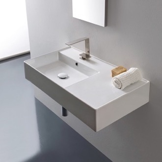 floating shelf with vessel sink bathroom