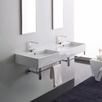 Double Ceramic Wall Mounted Sink With Polished Chrome Towel Holder Scarabeo 5116-TB