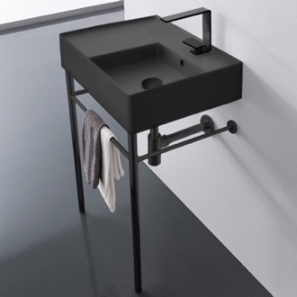 Matte Black Ceramic Console Sink and Matte Black Stand Scarabeo 5117-49-CON-BLK