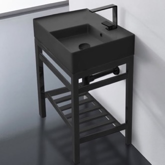 Modern Matte Black Ceramic Console Sink and Matte Black Base Scarabeo 5117-49-CON2-BLK