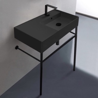 Matte Black Ceramic Console Sink and Matte Black Stand Scarabeo 5118-49-CON-BLK