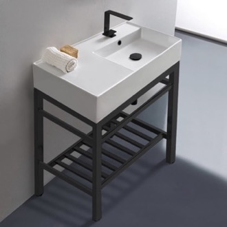 Modern Ceramic Console Sink With Counter Space and Matte Black Base Scarabeo 5118-CON2-BLK