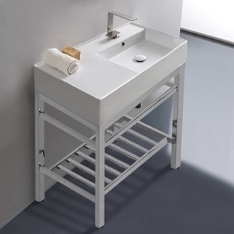 Modern Ceramic Console Sink With Counter Space and Chrome Base Scarabeo 5118-CON2