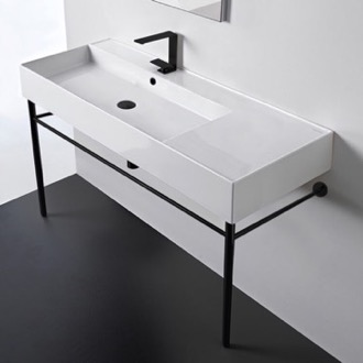 Ceramic Console Sink and Matte Black Stand Scarabeo 5119-CON-BLK