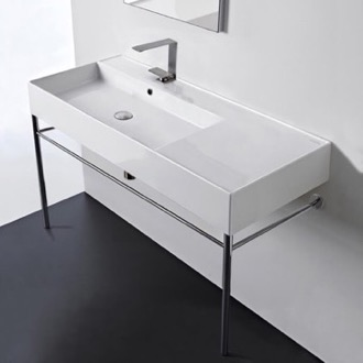 Rectangular Ceramic Console Sink and Polished Chrome Stand Scarabeo 5119-CON