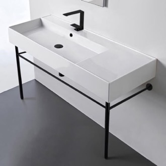 Ceramic Console Sink and Matte Black Stand Scarabeo 5121-CON-BLK
