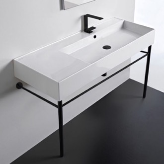 Ceramic Console Sink and Matte Black Stand Scarabeo 5122-CON-BLK