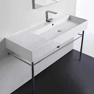 Rectangular Ceramic Console Sink and Polished Chrome Stand Scarabeo 5122-CON