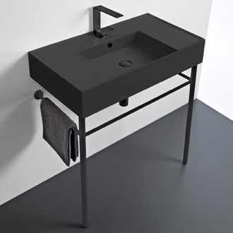 Matte Black Ceramic Console Sink and Matte Black Stand Scarabeo 5123-49-CON-BLK