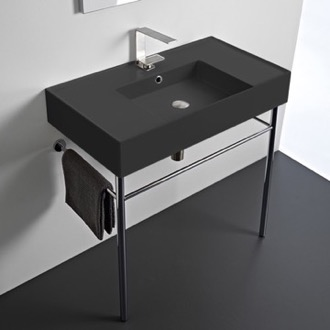 Matte Black Ceramic Console Sink and Polished Chrome Stand Scarabeo 5123-49-CON