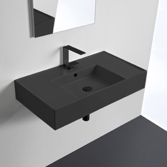 Matte Black Ceramic Wall Mounted or Vessel Sink With Counter Space Scarabeo 5123-49