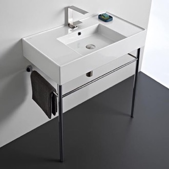 Rectangular Ceramic Console Sink and Polished Chrome Stand Scarabeo 5123-CON