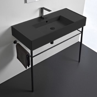 Matte Black Ceramic Console Sink and Matte Black Stand Scarabeo 5124-49-CON-BLK