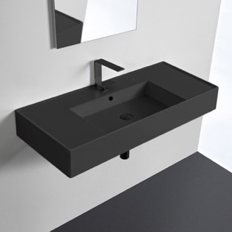 Matte Black Ceramic Wall Mounted or Vessel Sink With Counter Space Scarabeo 5124-49