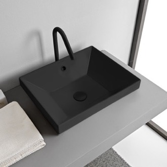 Rectangular Matte Black Ceramic Drop In Sink Scarabeo 5130-49