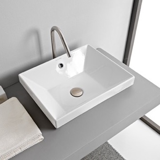 Rectangular White Ceramic Drop In Sink Scarabeo 5130