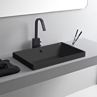 Rectangular Matte Black Ceramic Drop In Sink Scarabeo 5131-49