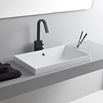 Rectangular White Ceramic Drop In Sink Scarabeo 5131