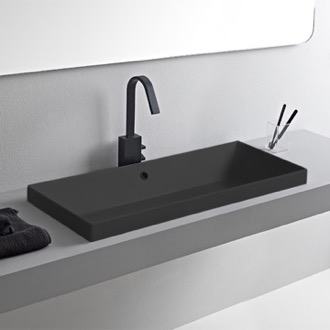 Rectangular Matte Black Ceramic Trough Drop In Sink Scarabeo 5132-49