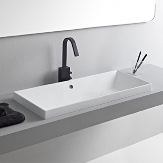 Rectangular White Ceramic Trough Drop In Sink Scarabeo 5132