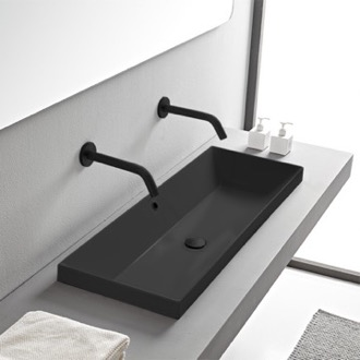 Rectangular Matte Black Ceramic Trough Drop In Sink Scarabeo 5133-49