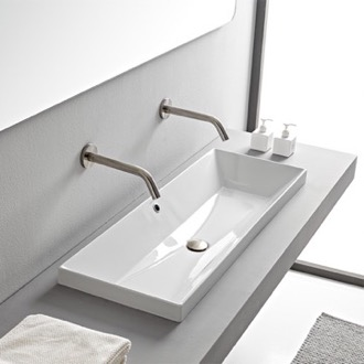 Rectangular White Ceramic Trough Drop In Sink Scarabeo 5133