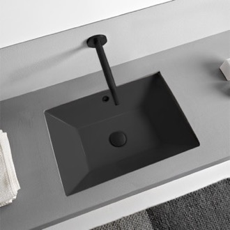 Rectangular Matte Black Ceramic Undermount Sink Scarabeo 5134-49