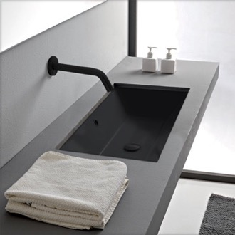 Rectangular Matte Black Ceramic Undermount Sink Scarabeo 5135-49