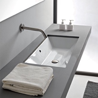 Rectangular White Ceramic Undermount Sink Scarabeo 5135