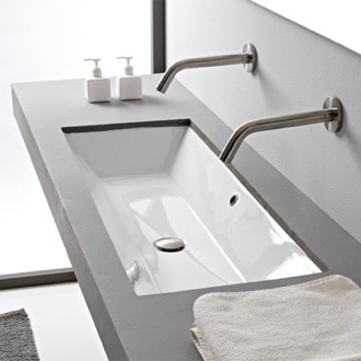 Rectangular White Ceramic Trough Undermount Sink Scarabeo 5136