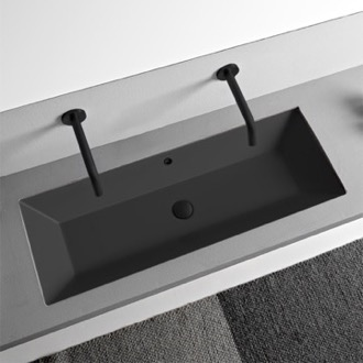 Rectangular Matte Black Ceramic Trough Undermount Sink Scarabeo 5137-49