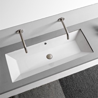 Rectangular White Ceramic Trough Undermount Sink Scarabeo 5137