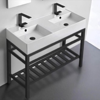 Double Ceramic Console Sink With Matte Black Stand Scarabeo 5142-CON2-BLK
