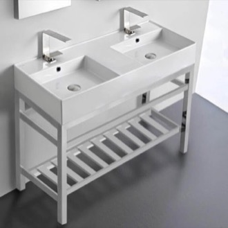 Double Ceramic Console Sink With Polished Chrome Stand Scarabeo 5142-CON2