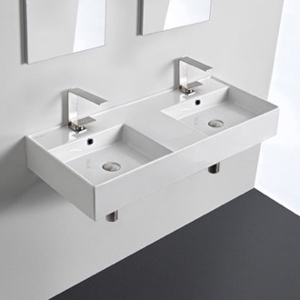 Double Rectangular Ceramic Wall Mounted or Vessel Sink With Counter Space Scarabeo 5142