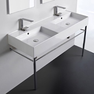 Double Ceramic Console Sink With Polished Chrome Stand Scarabeo 5143-CON