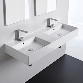 Double Rectangular Ceramic Wall Mounted or Vessel Sink With Counter Space Scarabeo 5143