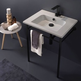 Ceramic Console Sink and Matte Black Stand Scarabeo 5210-CON-BLK