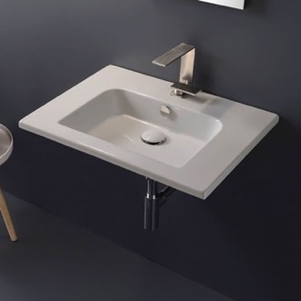 Sleek Rectangular Ceramic Wall Mounted Sink Scarabeo 5210