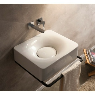 Bathroom Sink Rectangular White Ceramic Wall Mounted or Vessel Sink Scarabeo 6001