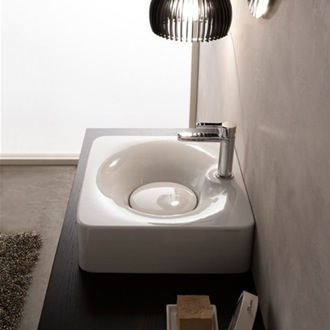 Bathroom Sink Rectangular White Ceramic Wall Mounted or Vessel Sink Scarabeo 6003