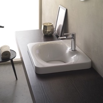 Bathroom Sink Square White Ceramic Self Rimming Sink Scarabeo 6013