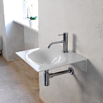 Ultra Thin Square White Ceramic Wall Mounted Sink Scarabeo 6101