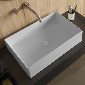 Rectangular White Ceramic Vessel Sink Scarabeo 8031/60