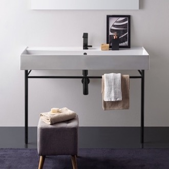 Large Ceramic Console Sink and Matte Black Stand Scarabeo 8031/R-120A-CON-BLK