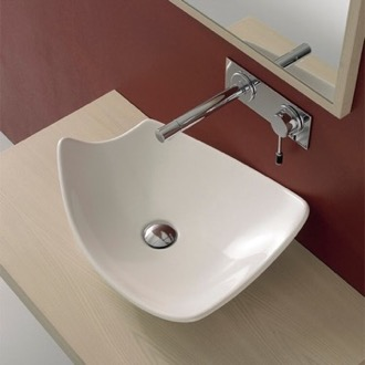 Rectangular White Ceramic Vessel Sink Scarabeo 8051