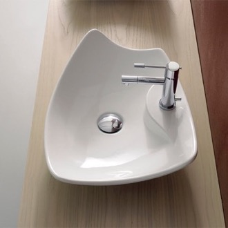 Rectangular White Ceramic Vessel Sink Scarabeo 8051/R