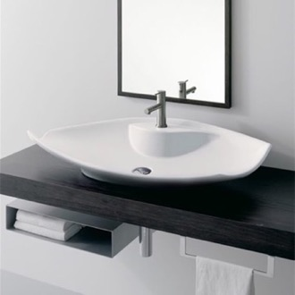 Oval-Shaped White Ceramic Vessel Sink Scarabeo 8052/R
